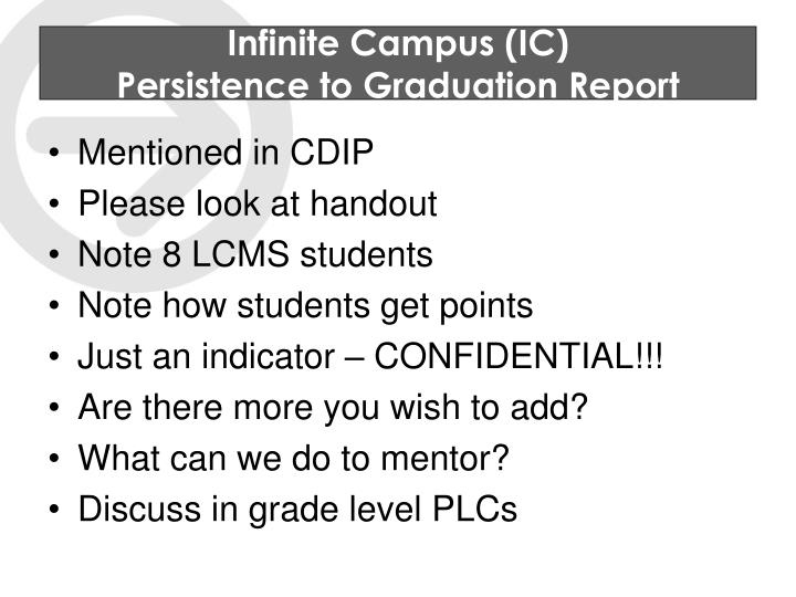 Infinite campus ic persistence to graduation report