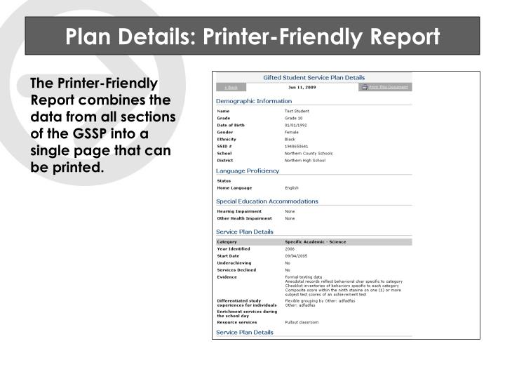 Plan Details: Printer-Friendly Report