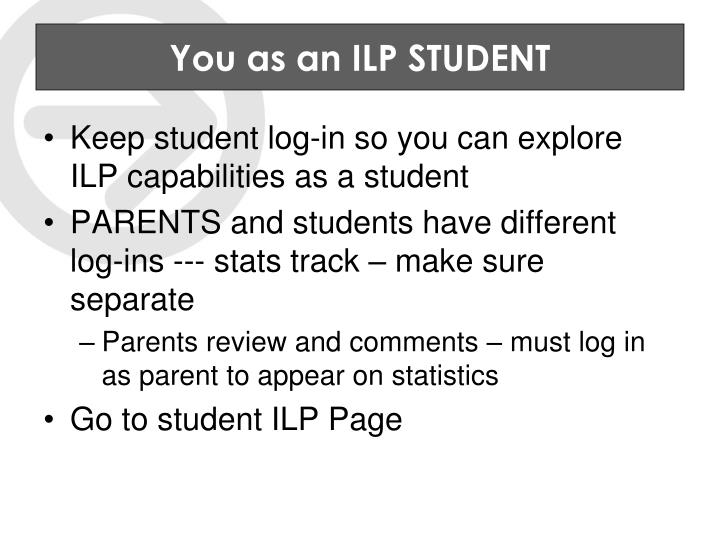 You as an ILP STUDENT