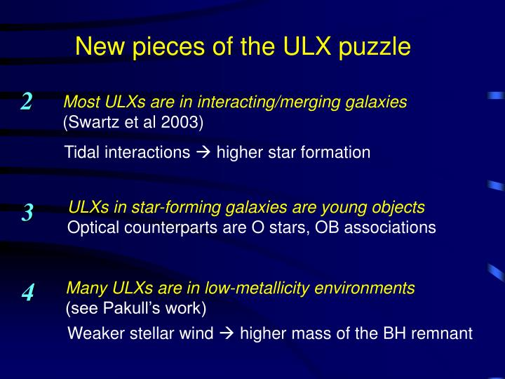 New pieces of the ULX puzzle