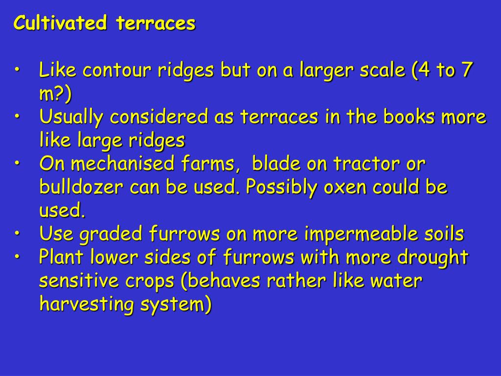 PPT - CONTOUR RIDGES and NARROW & BROAD BASED TERRACES Ridge
