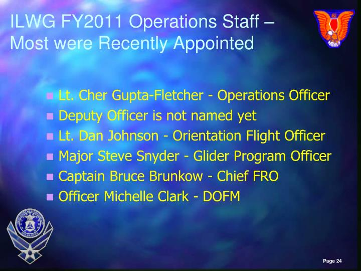 ILWG FY2011 Operations Staff – Most were Recently Appointed