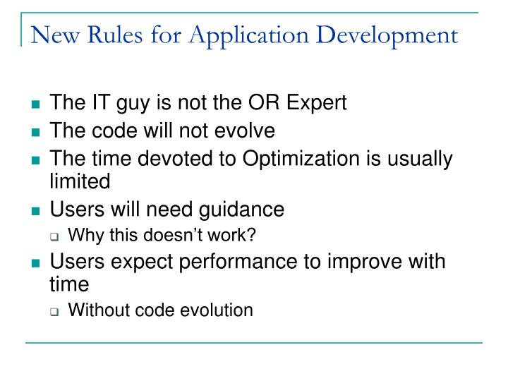 New Rules for Application Development