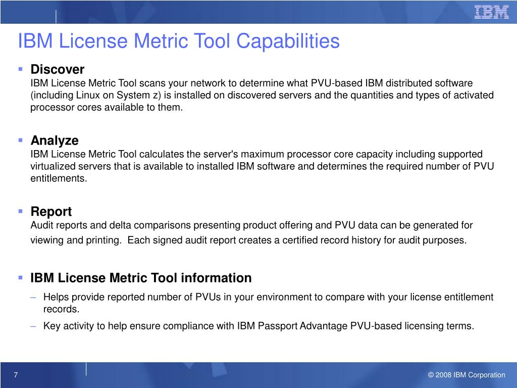 PPT - IBM License Metric Tool v7 1 Customer Briefing