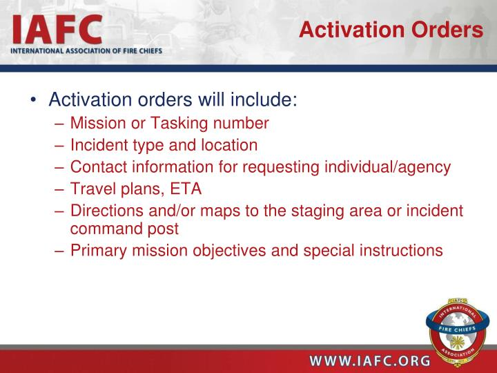 Activation Orders
