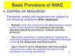 basic provisions of imas8