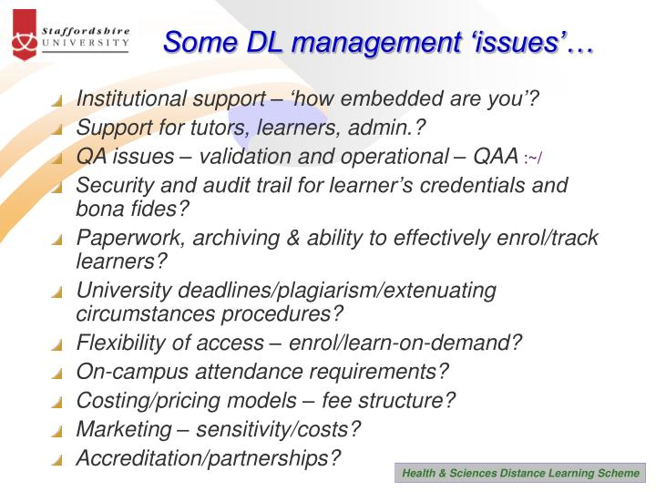 Some DL management 'issues'…