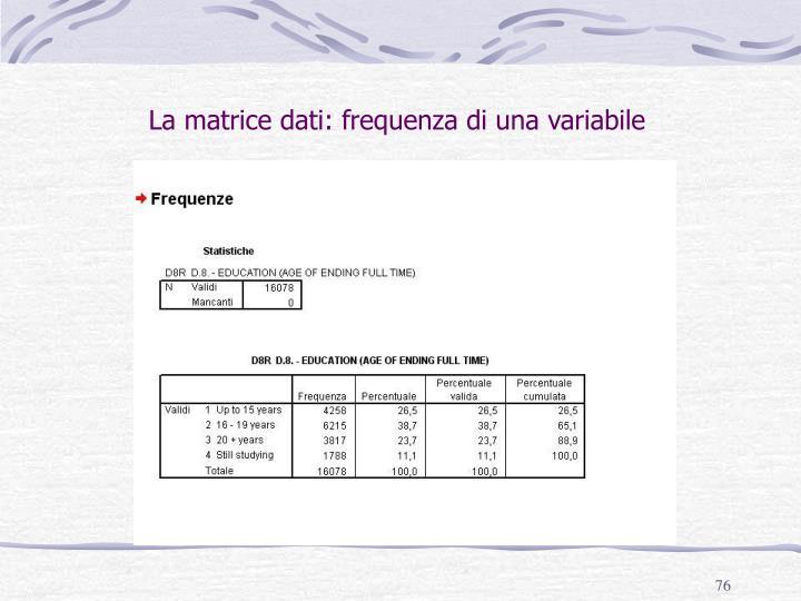 La matrice dati: frequenza di una variabile