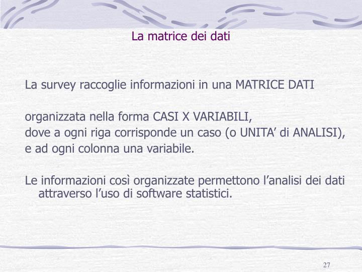 La matrice dei dati
