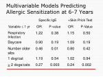 multivariable models predicting allergic sensitization at 6 7 years