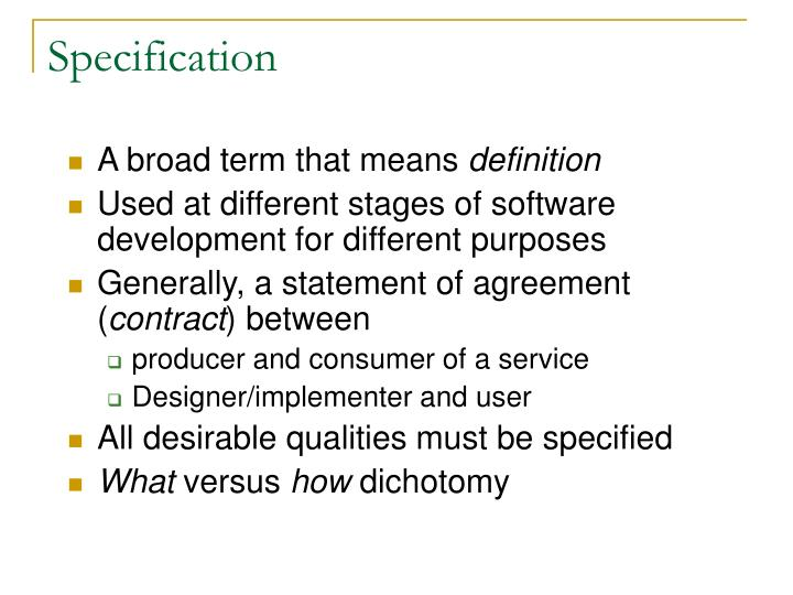 specification n.