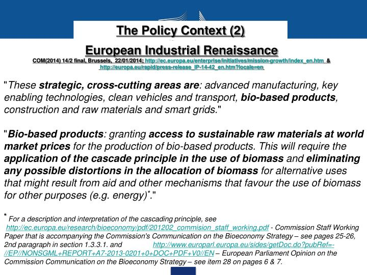 The Policy Context (2)
