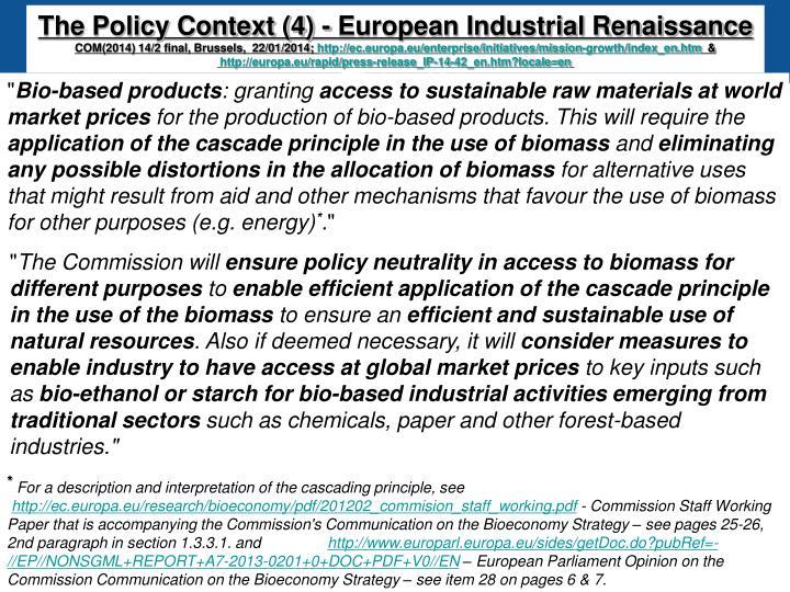 The Policy Context (4) - European Industrial Renaissance