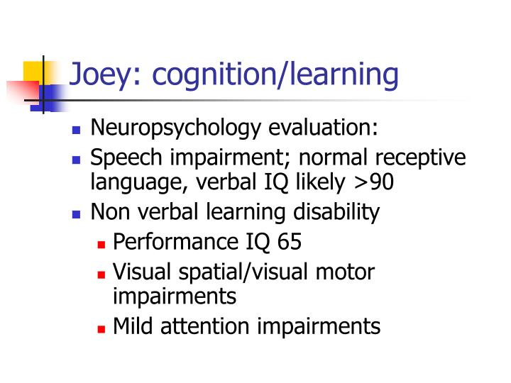 Joey: cognition/learning
