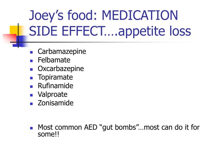 Joey's food: MEDICATION SIDE EFFECT….appetite loss