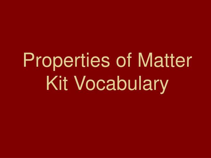 properties of matter kit vocabulary n.