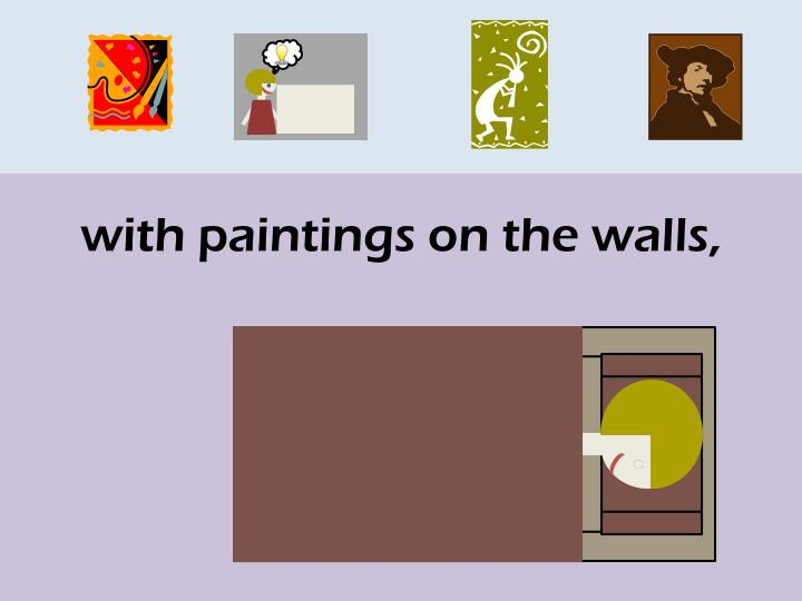 with paintings on the walls,