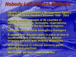 nobody left behind methods