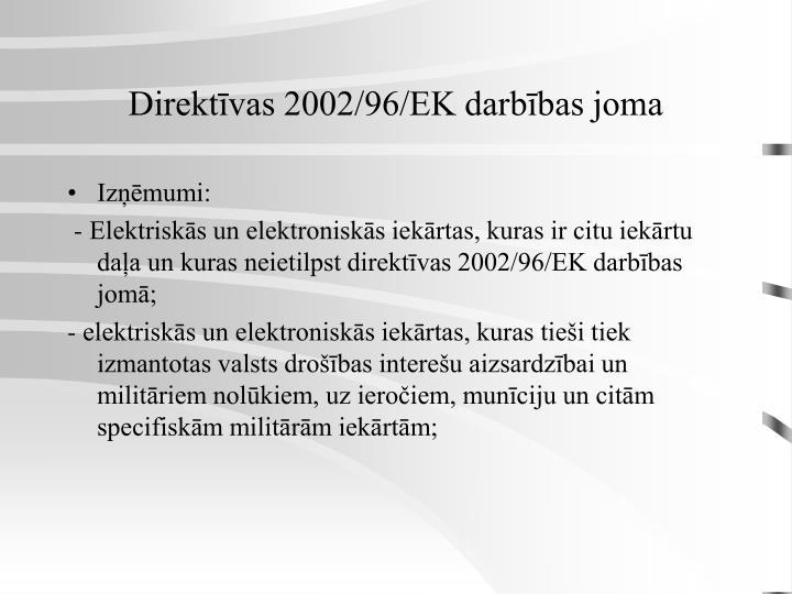 Direktīvas 2002/96/EK darbības joma