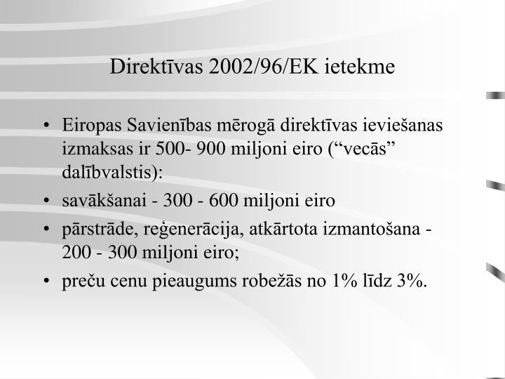 Direktīvas 2002/96/EK ietekme