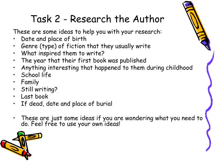 Task 2 research the author