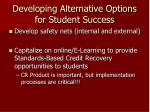 developing alternative options for student success