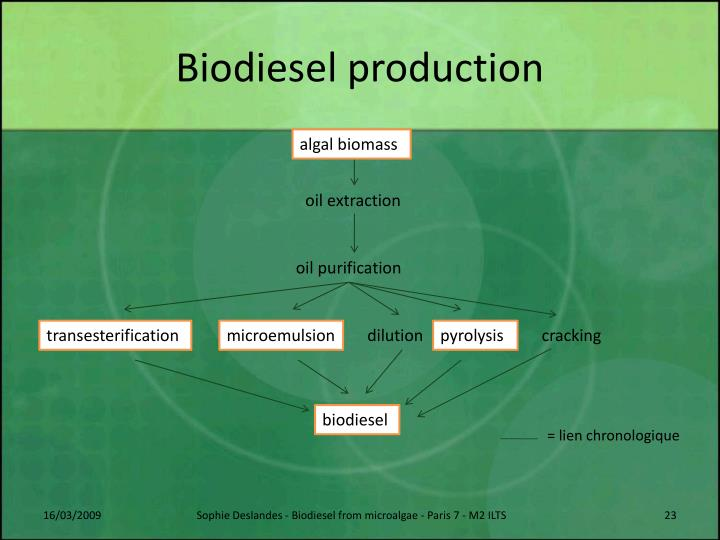 production of biodiesel using transesterification Biodiesel can be produced by transesterification of vegetable or waste oil catalysed by lipases biodiesel is an alternative energy source to conventional fuel it combines environmental friendliness.
