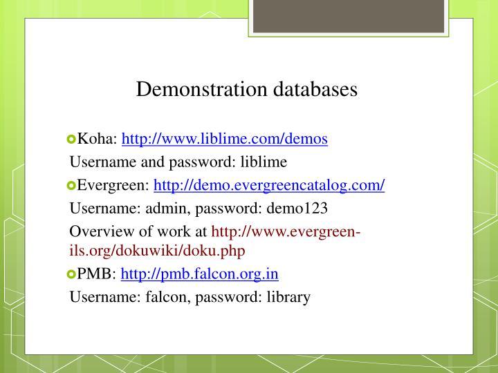 Demonstration databases