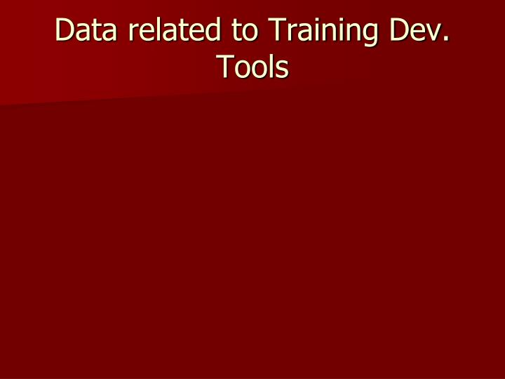 Data related to Training Dev. Tools