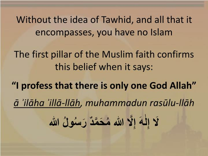 Without the idea of Tawhid, and all that it encompasses, you have no Islam