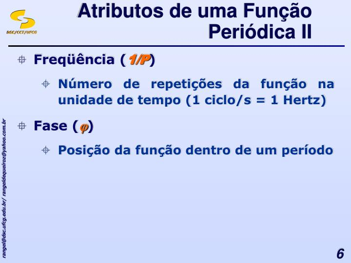 Atributos de uma Função Periódica II