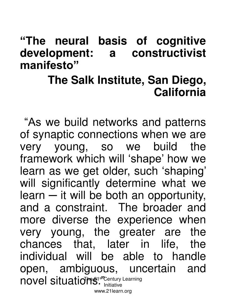 """The neural basis of cognitive development: a constructivist manifesto"""