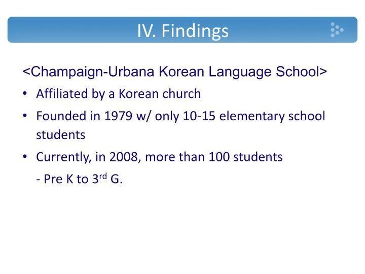 IV. Findings