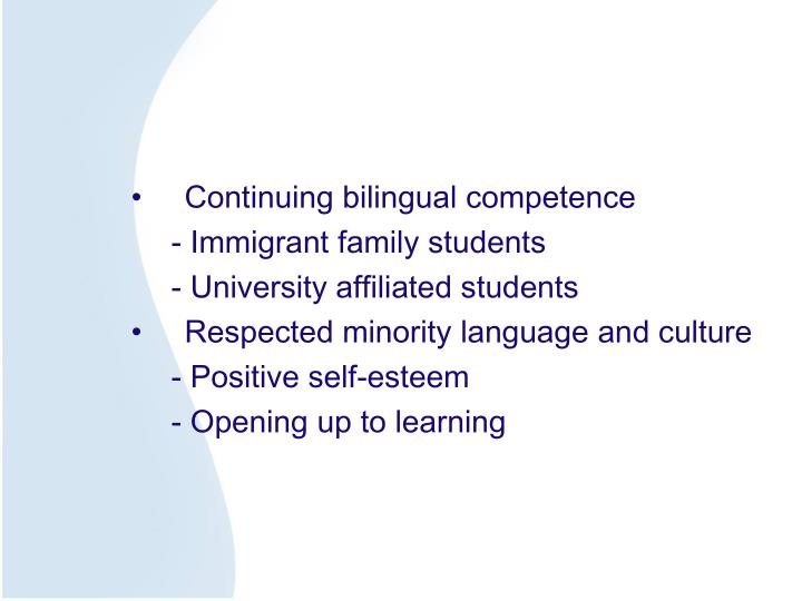 Continuing bilingual competence