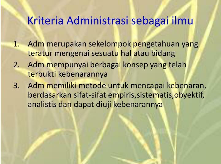 Kriteria Administrasi sebagai ilmu