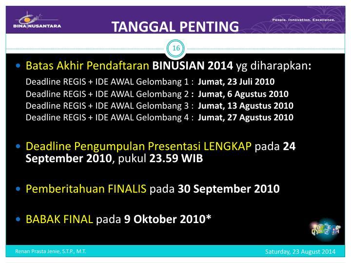 TANGGAL PENTING