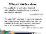 different studies show