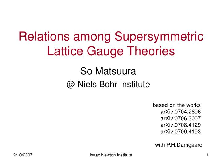 relations among supersymmetric lattice gauge theories n.