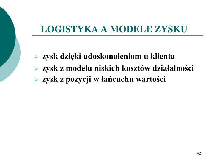 LOGISTYKA A MODELE ZYSKU
