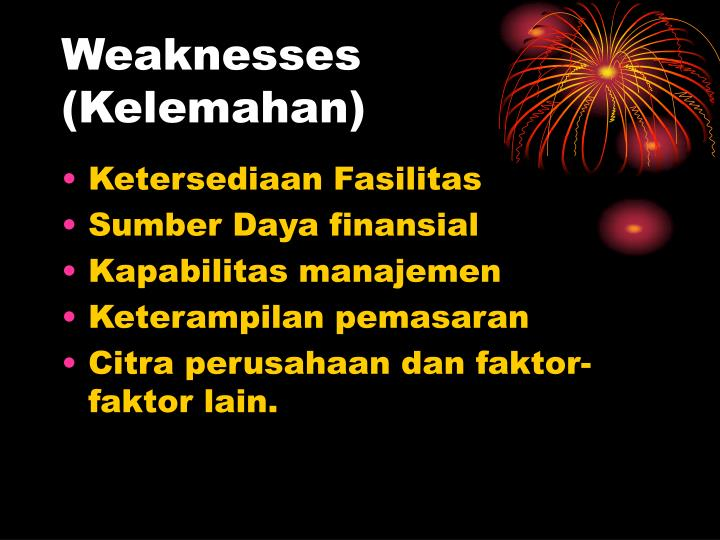 Weaknesses (Kelemahan)