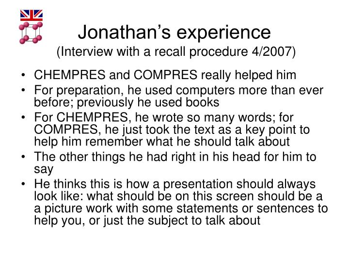 Jonathan's experience