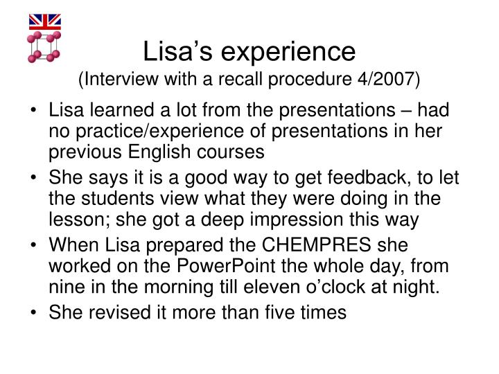 Lisa's experience