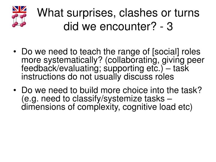 What surprises, clashes or turns did we encounter? - 3