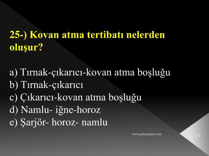 25-) Kovan atma tertibatı nelerden oluşur?