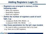 adding registers logic 1