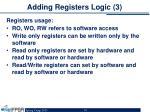 adding registers logic 3