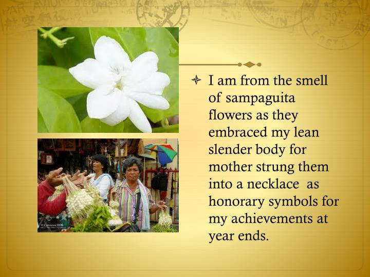 I am from the smell of sampaguita flowers as they embraced my lean slender body for mother strung them into a necklace  as honorary symbols for my achievements at year ends.