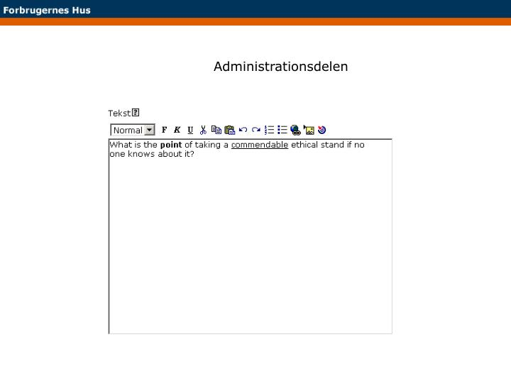 Administrationsdelen