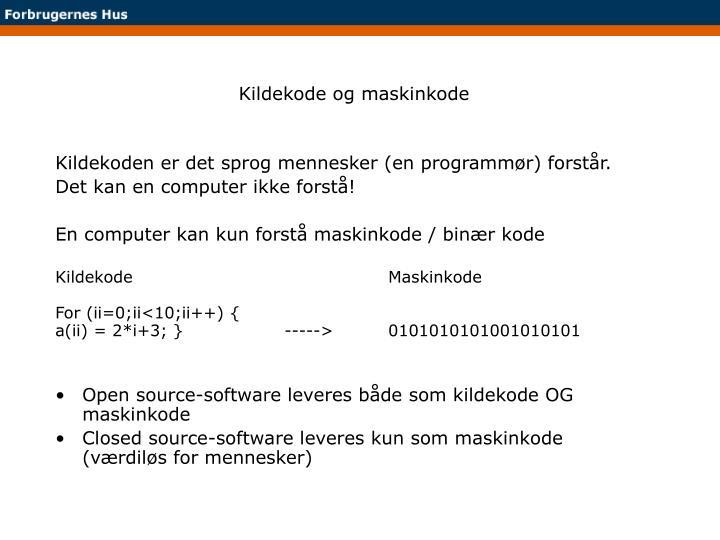 Kildekode og maskinkode