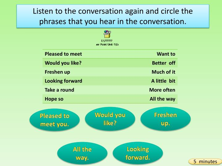 Listen to the conversation again and circle the phrases that you hear in the conversation.